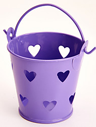 6 Piece/Set Favor Holder - Cylinder Metal Favor Tins and Pails Heart Hollow-out
