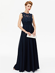 A-Line Jewel Neck Floor Length Chiffon Mother of the Bride Dress with Beading Appliques Sash / Ribbon Ruching by LAN TING BRIDE®