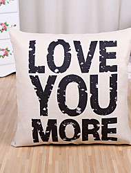 1 Pcs LOVE YOU MORE Letter Pillow Cover 45*45Cm Cotton/Linen Pillow Case Home Decor