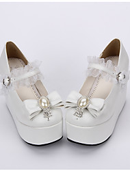Schuhe Niedlich Klassische/Traditionelle Lolita Lolita Prinzessin Plattform einfarbig Punkte Lolita 10 CM Weiß FürPU - Leder/Polyurethan