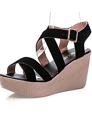 Women's Sandals Club Shoes Leather Summer Casual Wedge Heel Ruby Black 3in-3 3/4in