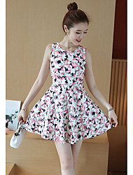 Women's Going out Valentine's Day Cute A Line Sheath Dress,Floral Botanical Print Round Neck Above Knee Sleeveless Others Summer Mid Rise