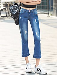 Women's Mid Rise Micro-elastic Jeans Pants,Sexy Straight Solid