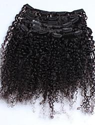 Малайзийский любезный вьющийся человеческий зажим для волос в наращивании волос виргинские волосы 7 штук / комплект натурального цвета 120
