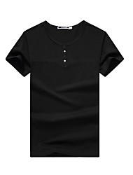 Tee-shirt Homme,Couleur Pleine Décontracté simple Eté Manches Courtes Col Arrondi Polyester / Rayon (T / R) Moyen