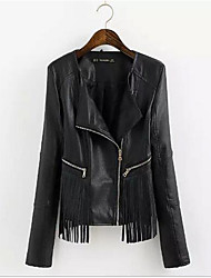 Women's Casual/Daily Simple Spring Leather Jacket,Solid Notch Lapel Long Sleeve Regular PU