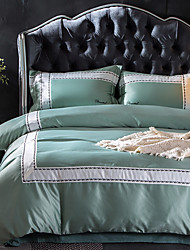 Bedtoppings Silk/Matte Satin & Combed Cotton Fabric Hand Made 4pcs Duvet Cover Set 2 Pillowcase/ 1 Flat sheet