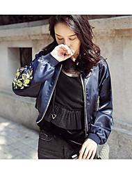 Feminino Jaquetas de Couro Diário Simples Outono Inverno,Floral Padrão Outros Colarinho Chinês Manga Longa