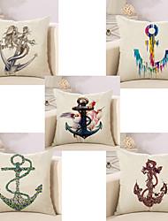 Set Of 5 Creative Design Boat Anchor Printing Pillow Cover Cotton/Linen Pillow Case 45*45Cm