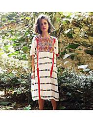 Damen Lose Kleid-Sonstiges Solide Blumen Rundhalsausschnitt Maxi Kurzarm Andere Frühling Herbst Hohe Hüfthöhe Unelastisch Semi-transparent