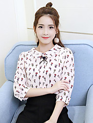 Women's Casual/Daily Simple Cute Spring Summer Blouse,Floral Shirt Collar Long Sleeve Others Thin