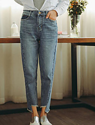 Women's High Rise Micro-elastic Jeans Pants,Simple Loose Straight Solid