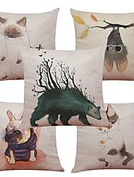 Set of 5 Creative Cartoon Animals Pattern  Linen Pillowcase Sofa Home Decor Cushion Cover (18*18inch)