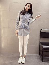 Women's Casual Simple Shirt,Striped Shirt Collar Long Sleeve Polyester