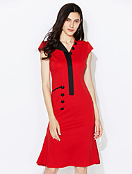 Women's Vintage V Neck Button Dress , Cotton Blends Red Bodycon/Casual/Party/Work