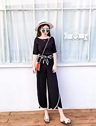 Для женщин На каждый день Весна Лето Рубашка Брюки Костюмы Круглый вырез,просто Уличный стиль Однотонный 1/2 Length Sleeve