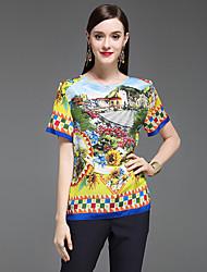 Damen Druck Anspruchsvoll Lässig/Alltäglich T-shirt,Rundhalsausschnitt Kurzarm Seide