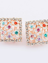 Korean Style Fashion Square Cut  Rhinestone Flower Multicolor  Earrings Women's Daily Movie Jewelry