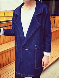 Men's Daily Casual Spring/Fall Denim Jacket,Solid Shirt Collar Long Sleeve Long Denim