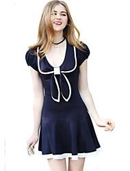 Une Pièce/Robes Costume de Soirée Etudiant/Uniforme d'écolier Marin Fête / Célébration Déguisement d'Halloween Bleu Encre Mode RobeFemme