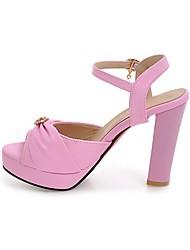 Damen Sandalen Knöchelriemen PU Sommer Kleid Knöchelriemen Strass Perle Blockabsatz Weiß Schwarz Beige Rose Rosa Rosa 12 cm & mehr