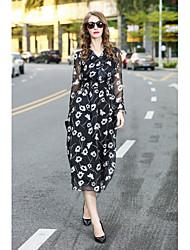 Feminino Evasê Vestido,Para Noite Casual Estampado Colarinho de Camisa Médio Manga Longa Polyester / Rayon (T / R) Primavera VerãoCintura