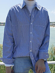 Men's Casual Simple Shirt,Striped Stand Long Sleeve Cotton Thin