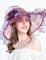 Women's Fashion Mesh Bucket Sun Hat Handmade Flower Striped Spring/Fall  Summer  Hats