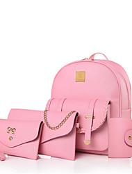 Women Bag Sets Other Leather Type All Seasons Casual Bucket Metallic Zipper Beige LightBlue Blushing Pink Black