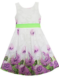 Girls Summer Dress Purple Sunflower Floral Party Birthday Holiday Fashion Child Kids Clothing