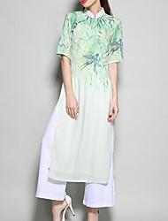 Feminino Blusa Saia Conjuntos chinoiserie Primavera Outono Colarinho Chinês