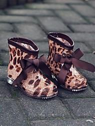 Girls' Boots Comfort PVC Spring Summer Casual Wedge Heel Brown Black 1in-1 3/4in