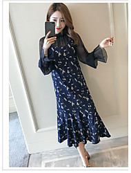 Women's Casual/Daily Lace Dress,Floral Print Round Neck Knee-length Long Sleeve Rayon Summer Mid Rise Micro-elastic Medium