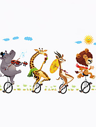 Wall Stickers Wall Decas Style Animals Ride Bicycles PVC Wall Stickers