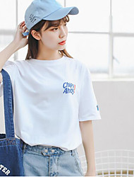 Damen Solide Niedlich Arbeit T-shirt,Rundhalsausschnitt ½ Länge Ärmel Baumwolle
