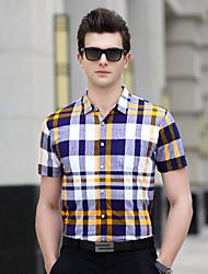 Для мужчин Повседневные На каждый день Офис Большие размеры Лето Футболка Рубашечный воротник,ПростоеПолоски Геометрический принт В