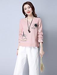 Damen Solide Druck Einfach Alltag T-shirt,V-Ausschnitt Langarm Baumwolle