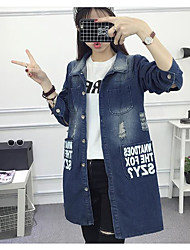 Women's Casual/Daily Active Spring Denim Jacket,Letter Stand Long Sleeve Long Cotton