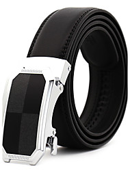 Men's Simple Black/Gold Genuine Leather Alloy Automatic Buckle Waist Belt Work/Casual/Party All Seasons