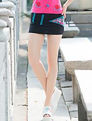 Damen Urlaub Mini Röcke A-Linie einfarbig Druck Sommer