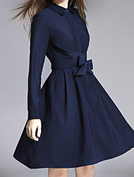 Women's Casual/Daily Simple Loose Dress,Solid Square Neck Above Knee Long Sleeve Cotton Summer Mid Rise Micro-elastic Medium