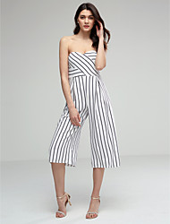 Women's Sexy Strapless Striped Casual Wide Leg Flare Trousers /Pants / Jumpsuits