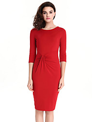 Womens Elegant Ruched  Peplum Vintage Casual Wear To Work Office Business Party Bodycon Pencil Sheath Dress