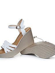 Damen Sandalen Leder Sommer Keilabsatz Weiß Grün 5 - 7 cm