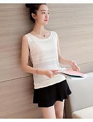 Damen Solide Einfach Normal Tank Tops,Rundhalsausschnitt Sommer Ärmellos Polyester