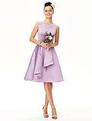 Trapèze Bijoux Mi-long Satin Robe de Demoiselle d'Honneur  avec Ceinture / Ruban Plissé par LAN TING BRIDE®