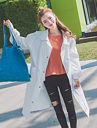 Women's Daily Sweet Spring/Fall Trench Coat,Solid Shirt Collar Long Sleeve Long Cotton Blend