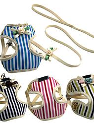 Verão novo coleira ajustável colete de chicote de animais&Leash cute flor stripe dog harness para cães pequenos chihuahua teddy cat