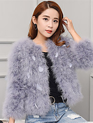 Women's Going out / Casual/Daily / Party/Cocktail Cute Fur Coat,Solid Round Neck Long Sleeve Fall / Winter Pink / White / Black / Gray