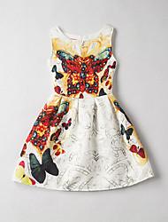 Girl's Print Jacquard Dress,Rayon Summer Sleeveless